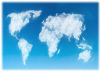 Global Language Coverage - Map of the world in clouds on blue sky