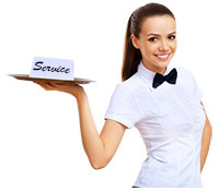 Waitress offering first class service