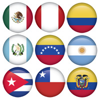 Flags of major South American countries who speak Spanish