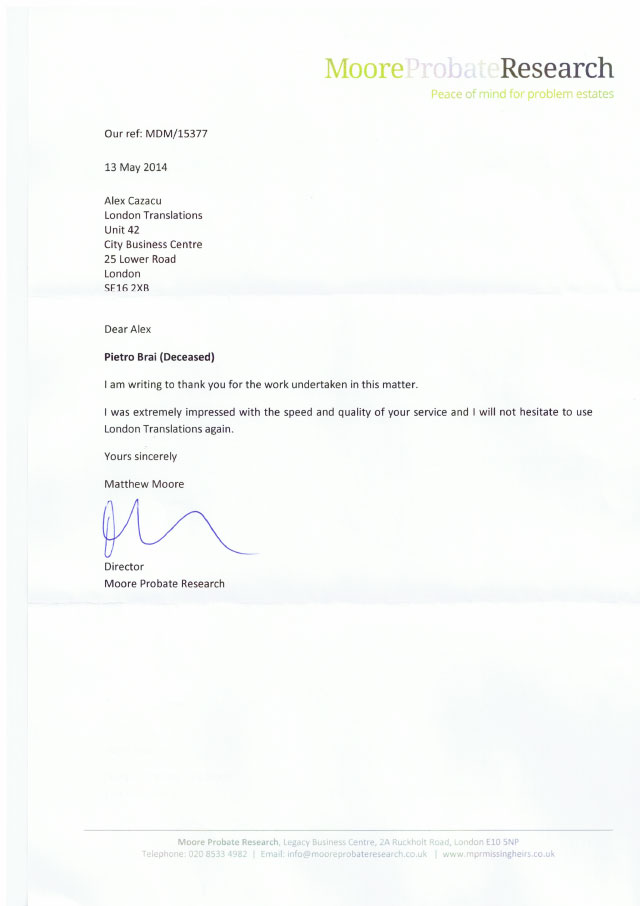 Moore Probate Research Testimonial Letter