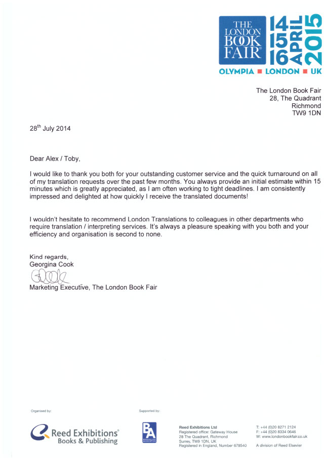 Image of The London Book Fair Testimonial Letter
