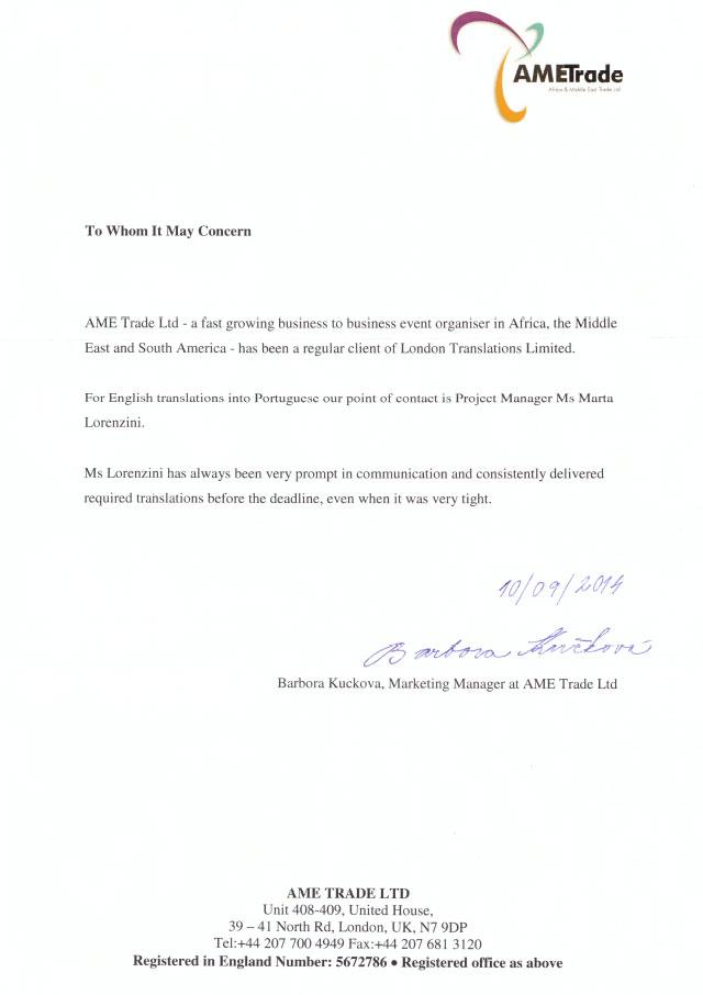 AMETrade A4 testimonial letter