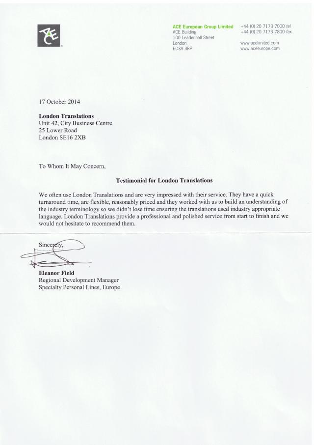 Ace European Group Testimonial Letter