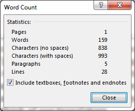 picture of detailed word count statistics