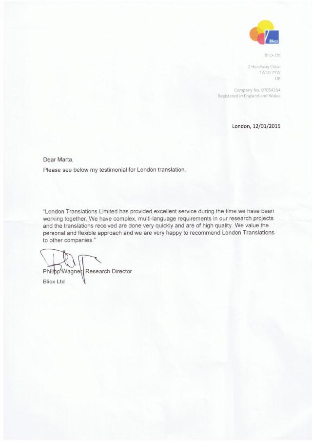 Letter for Blicx testimonial