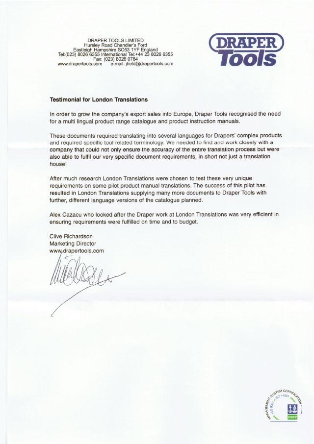 Draper tools testimonial letter