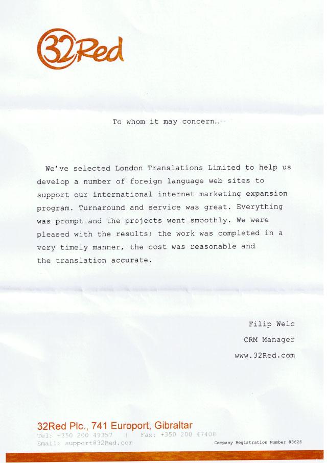 32Red Testimonial Letter