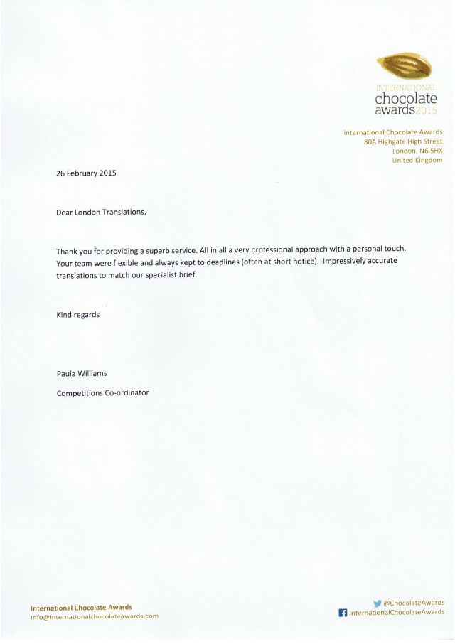Letter from the International Chocolate Awards