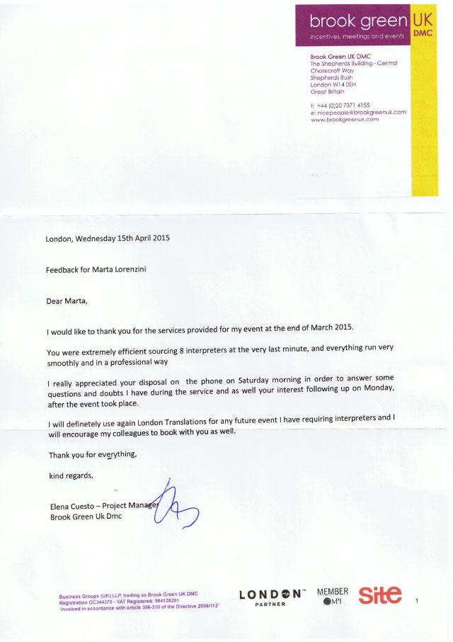 Brook Green Testimonial Letter