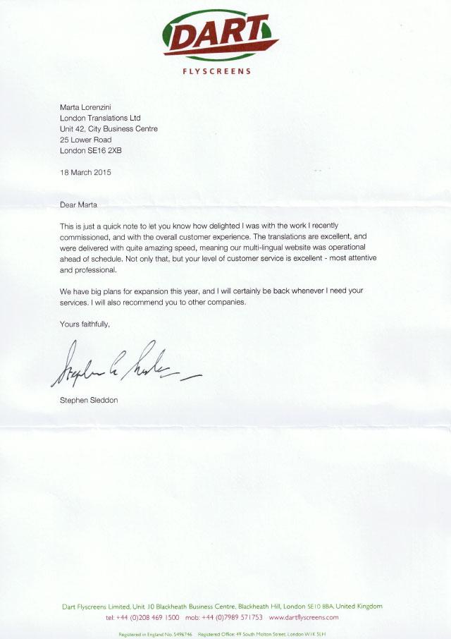 Dart Flyscreens Testimonial