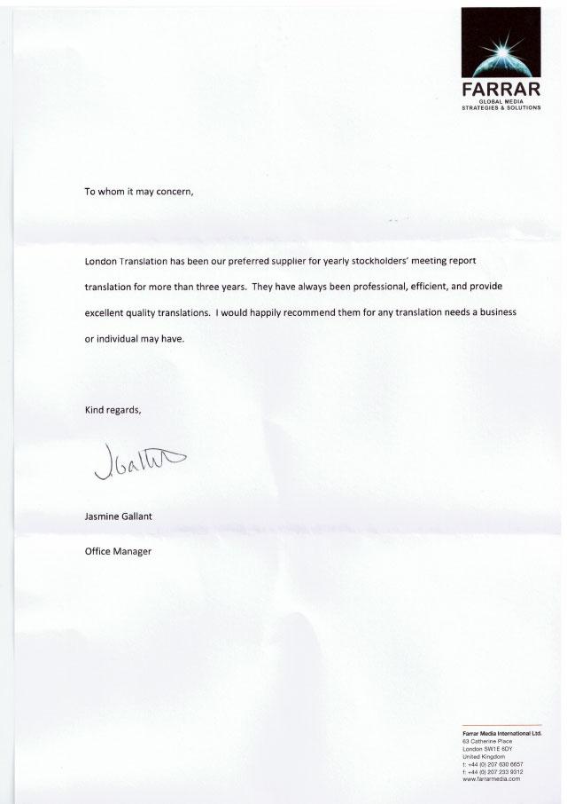 Farrar Media Testimonial Letter