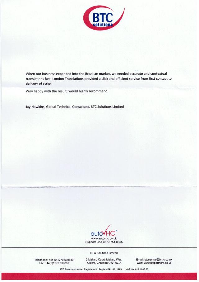 BTC Solutions Testimonial Letter
