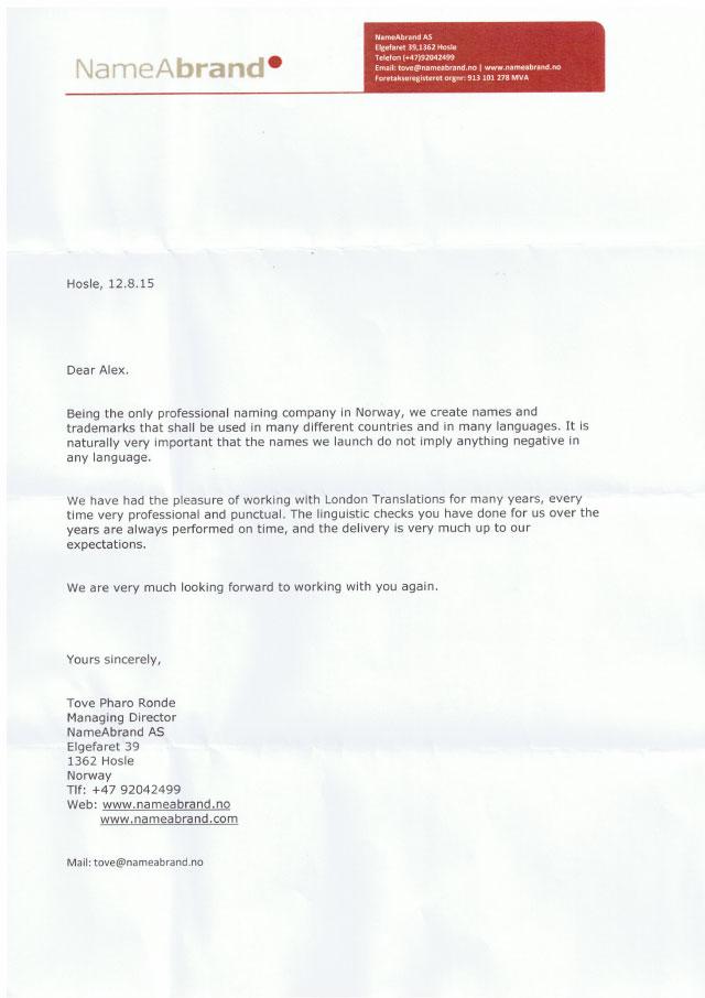 NameABrand testimoinal letter