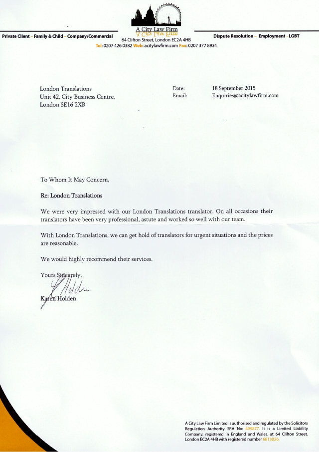 A City Lawfirm Testimonial Letter