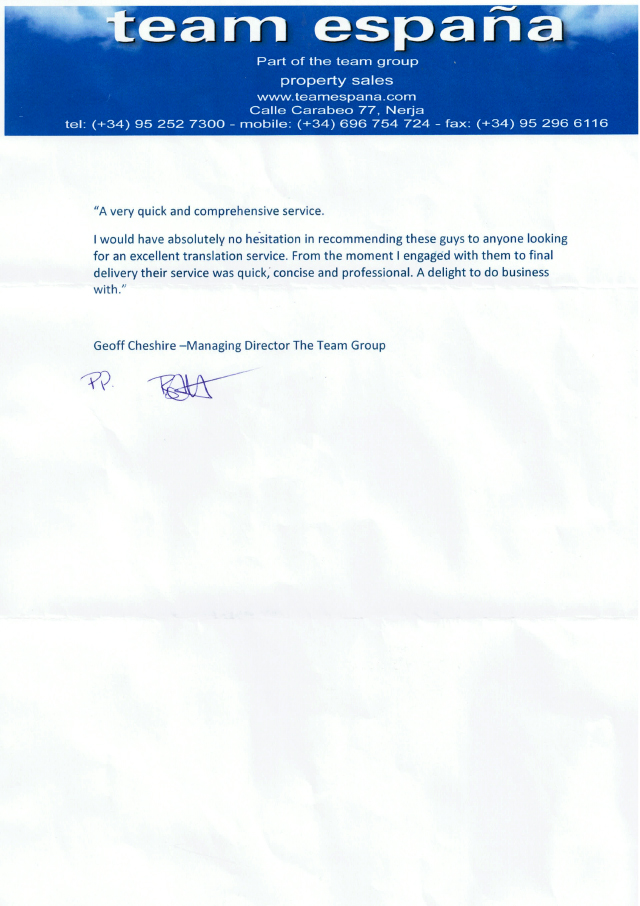 Team Espana Letter