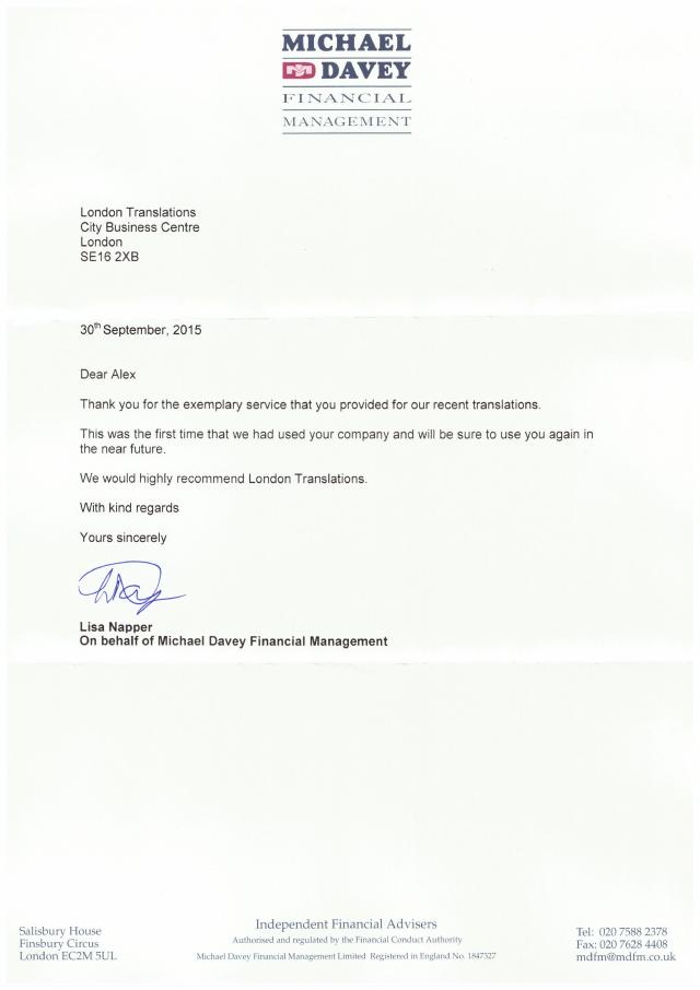Michael Davey testimonial letter
