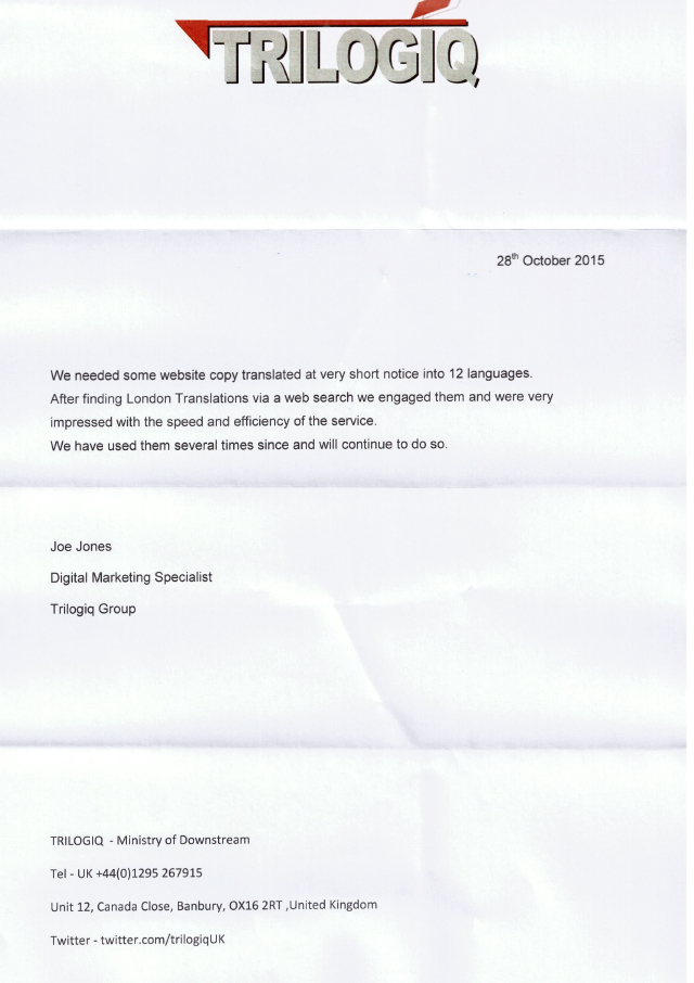 Letter of testimonial from Trilogiq