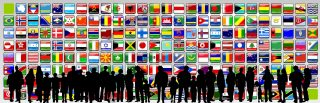 silhouette in front of world flags
