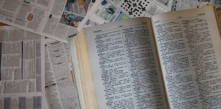 English language dictionary pages