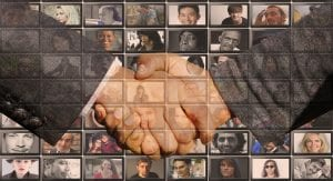 handshake across a montage of faces
