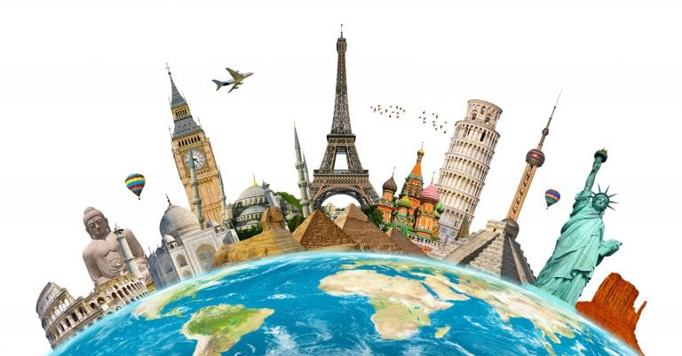 Eiffel tower among other famous global monuments